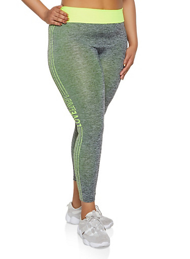 Plus Size Marled Contrast Trim Love Active Leggings,LIME,large