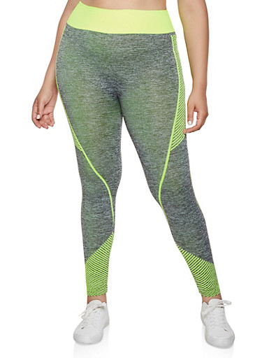 Plus Size Multi Stripe Detail Active Leggings,CHARCOAL,large