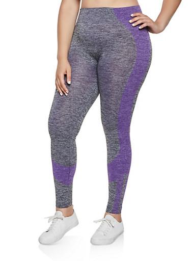 Plus Size Multi Stripe Detail Active Leggings,LAVENDER,large
