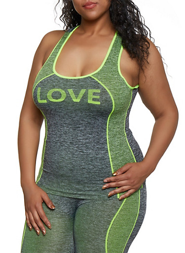 Plus Size Love Seamless Active Tank Top,LIME,large