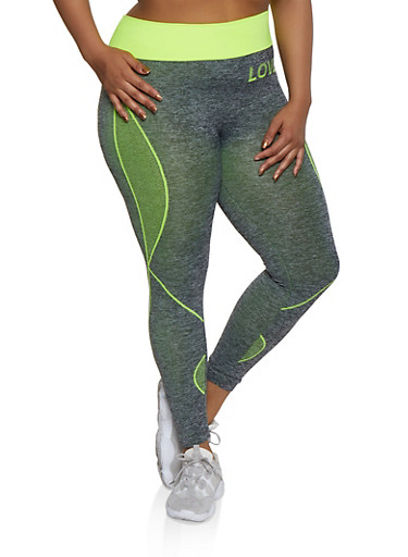 Plus Size Love Seamless Active Leggings,LIME,large