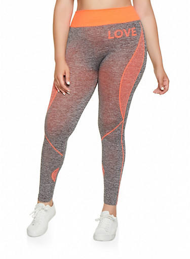 Plus Size Love Seamless Active Leggings,CORAL,large