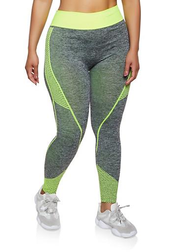 Plus Size Striped Detail Active Leggings,LIME,large