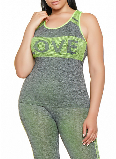 Plus Size Love Dot Print Tank Top,LIME,large