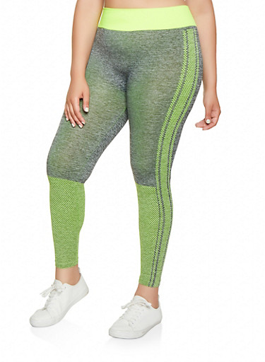 Plus Size Dot Print Leggings,LIME,large