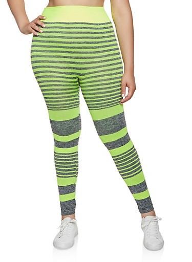 Plus Size Multi Stripe Active Leggings,LIME,large