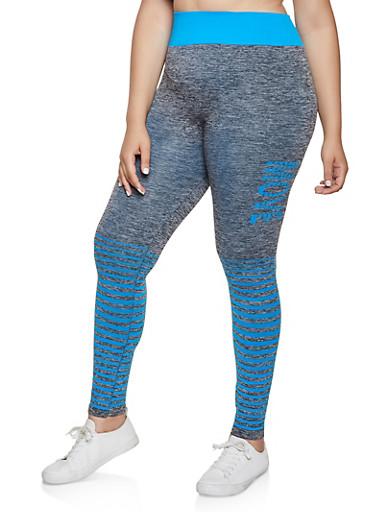 Plus Size Multi Stripe Move Active Leggings,TURQUOISE,large