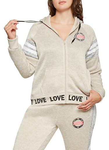 Plus Size Love Graphic Varsity Stripe Sweatshirt,OATMEAL,large