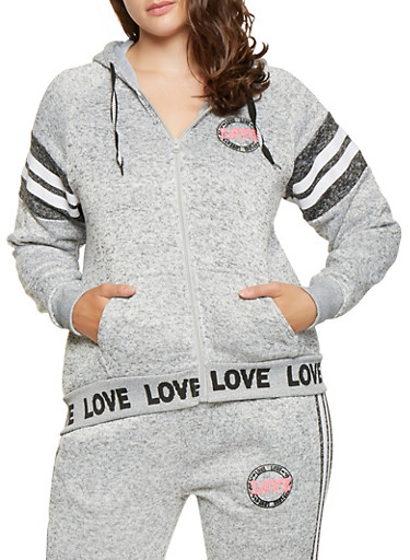 Plus Size Love Graphic Sweatshirt,GRAY,large