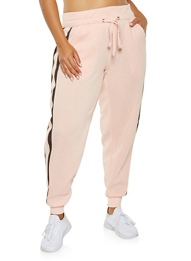 Plus Size Side Stripe Detail Sweatpants,MAUVE,large