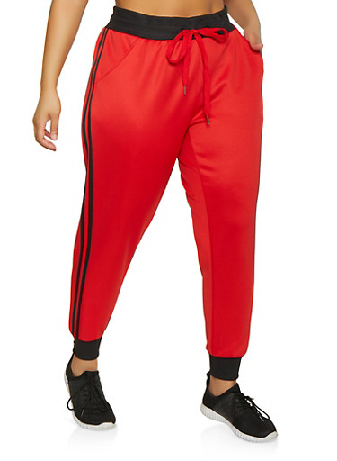 Plus Size Varsity Stripe Active Joggers,RED,large