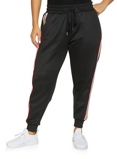 Plus Size Striped Tape Track Pants,BLACK,large