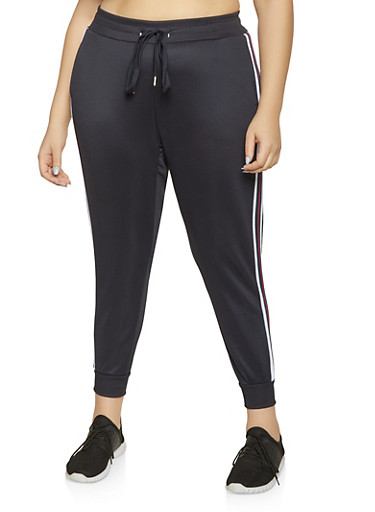 Plus Size Striped Tape Track Pants,NAVY,large