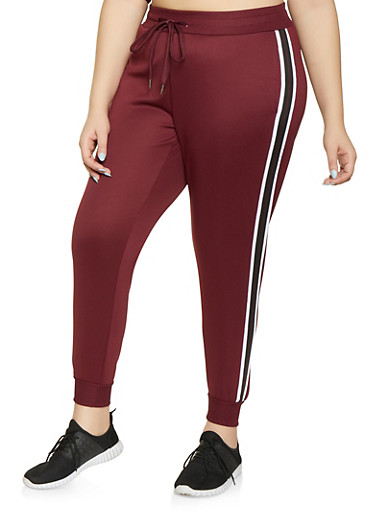 Plus Size Striped Tape Track Pants,WINE,large