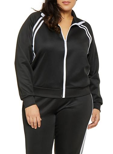 Plus Size Varsity Stripe Track Jacket,BLACK,large