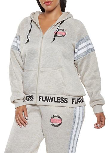 Plus Size Marled Graphic Zip Front Sweatshirt,OATMEAL,large