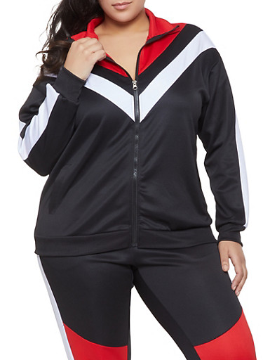 Plus Size Chevron Track Jacket,BLACK,large