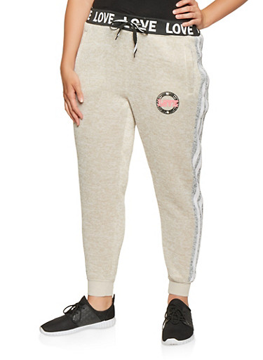 Plus Size Love Graphic Joggers,OATMEAL,large