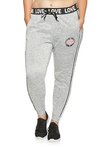 Plus Size Love Graphic Joggers,GRAY,large