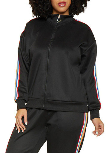Plus Size Striped Tape Track Jacket,BLACK,large
