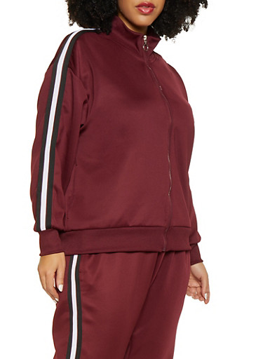 Plus Size Striped Tape Track Jacket,WINE,large