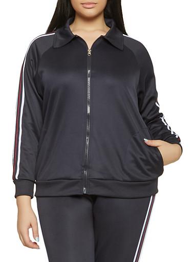 Plus Size Striped Tape Sleeve Track Jacket,NAVY,large