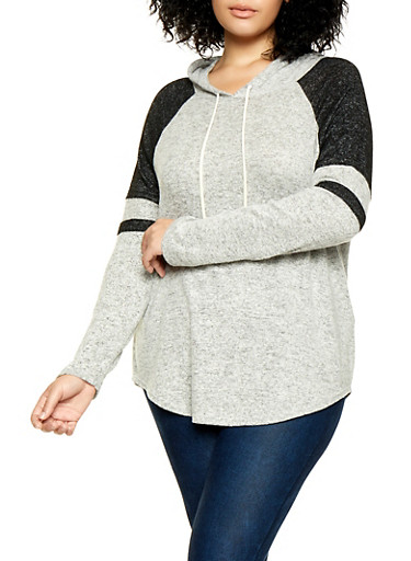 Plus Size Color Block Hooded Top   3951054260608,HEATHER,large