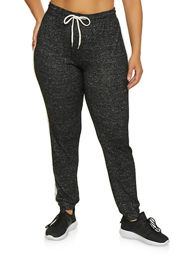 Plus Size Brush Knit Joggers,BLACK,large