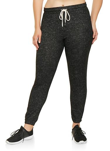 Plus Size Brushed Knit Sweatpants,BLACK,large