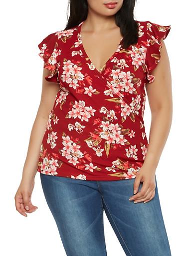 Plus Size Floral Faux Wrap Top,RED,large