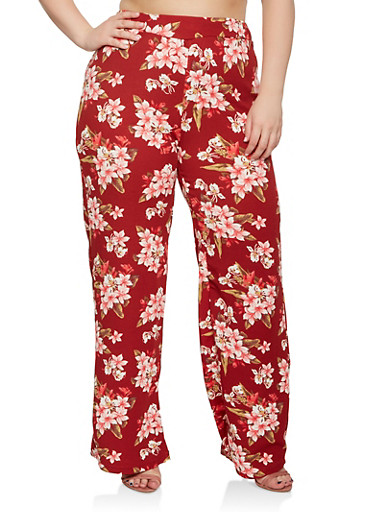 Plus Size Floral Palazzo Pants,RED,large