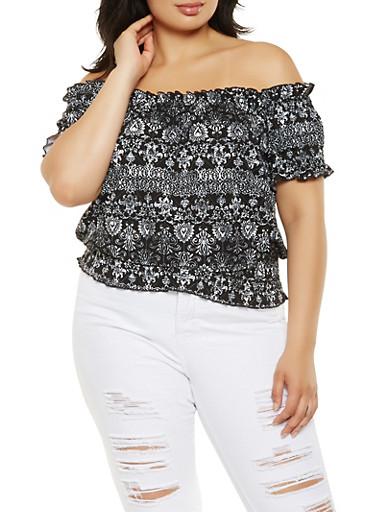 Plus Size Smocked Off the Shoulder Printed Top,BLACK,large