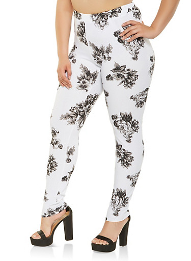 Plus Size Floral Casual Pants,BLACK/WHITE,large