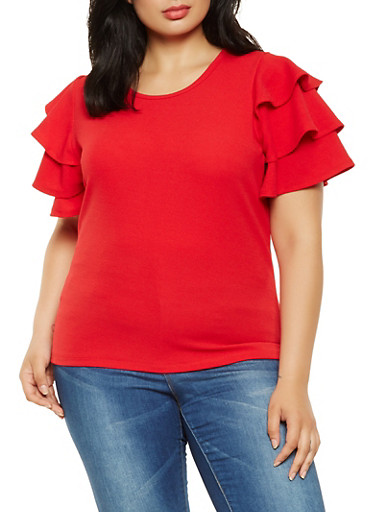 Plus Size Textured Knit Tiered Sleeve Top,RED,large