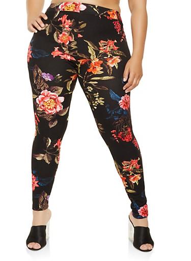 Plus Size Floral Skinny Pants,BLACK,large