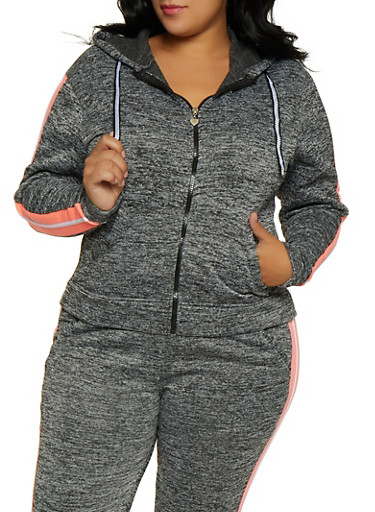 Plus Size Fleece Lined Side Stripe Sweatshirt,CHARCOAL,large
