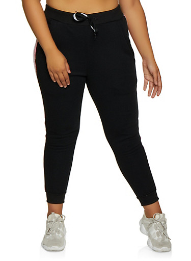 Plus Size Fleece Lined Side Stripe Joggers,BLACK,large
