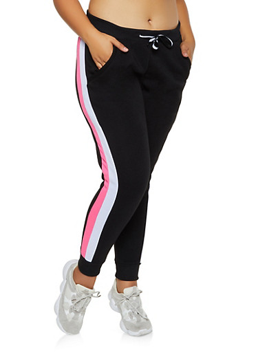 Plus Size Side Stripe Fleece Lined Joggers,BLACK,large