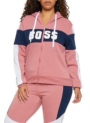 Plus Size Color Block Boss Sweatshirt,MAUVE,large