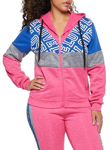 Plus Size Love Color Block Fleece Sweatshirt,FUCHSIA,large
