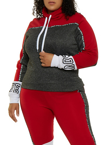 Plus Size Royalty Tape Color Block Sweatshirt,RED,large