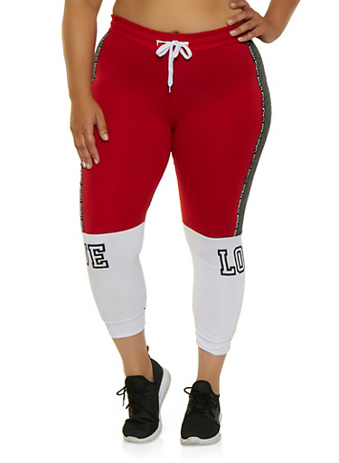 Plus Size Royalty Tape Color Block Joggers,RED,large