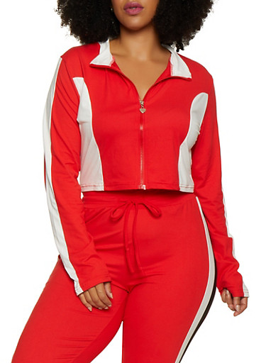 Plus Size Zip Front Color Block Top,RED,large