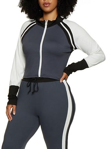 Plus Size Zip Up Cropped Sweatshirt,GRAY,large