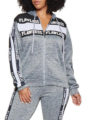 Plus Size Flawless Graphic Sweatshirt,GRAY,large