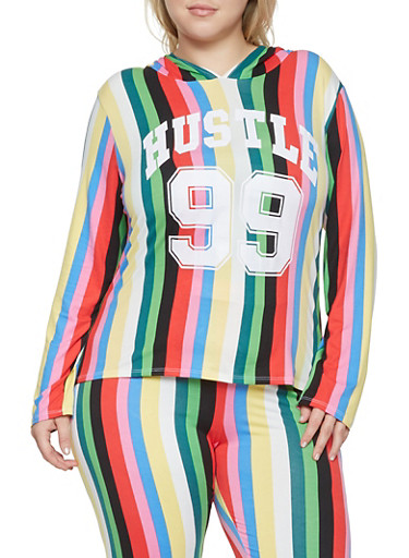 Plus Size Striped Graphic Hooded Top,GREEN,large