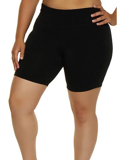Plus Size Bike Shorts,BLACK,large