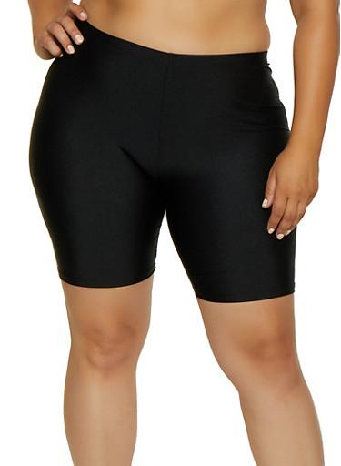 Plus Size Spandex Bike Shorts | 3960064721200,BLACK,large