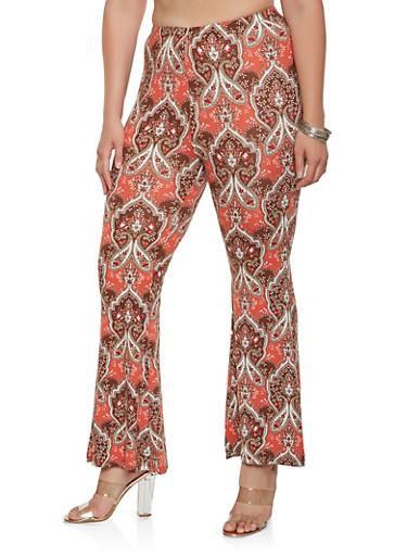 Plus Size Printed Soft Knit Pants,RUST,large