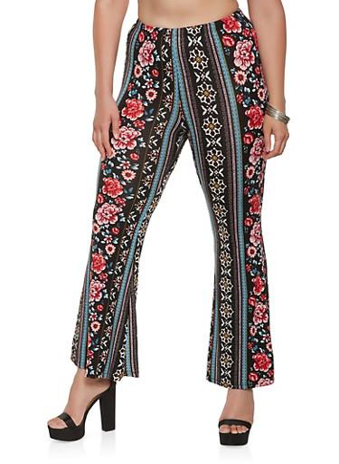 Plus Size Printed Flared Pants,BLACK,large